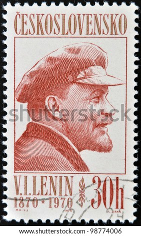 CZECHOSLOVAKIA - CIRCA 1970: A Stamp printed in Czechoslovakia shows Lenin, circa 1970 - stock photo