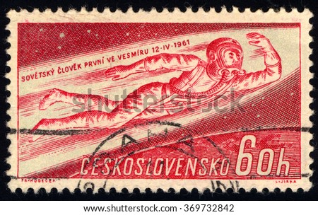 CZECHOSLOVAKIA - CIRCA 1961: A stamp printed in Czechoslovakia shows Man Flying into Space, Yuri A. Gagarin, 1st Man in Space, circa 1961 - stock photo