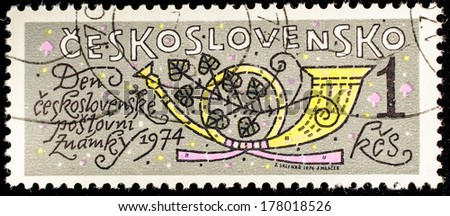 CZECHOSLOVAKIA - CIRCA 1974: A stamp printed in Czechoslovakia, shows Musical instrument hunting horn, circa 1974  - stock photo