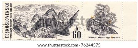 CZECHOSLOVAKIA - CIRCA 1969: A stamp printed in Czechoslovakia, shows panorama Ganek peak  in the national park in the Tatra Mountains, circa 1969
