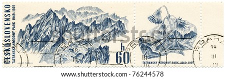 CZECHOSLOVAKIA - CIRCA 1969: A stamp printed in Czechoslovakia, shows panorama of mountains in the national park in the Tatra Mountains, circa 1969