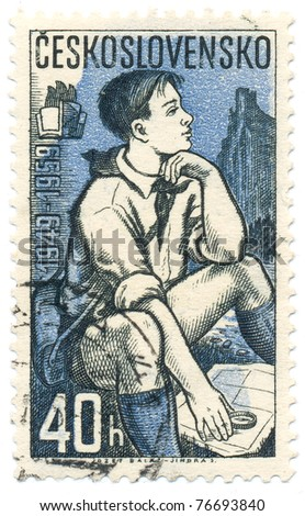 CZECHOSLOVAKIA - CIRCA 1959: A stamp printed in Czechoslovakia, shows Pioneer studying map, series Pioneers, circa 1959