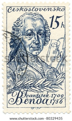 CZECHOSLOVAKIA - CIRCA 1959: A stamp printed in Czechoslovakia, shows portrait Czech violinist and composer Frantisek Benda, circa 1959