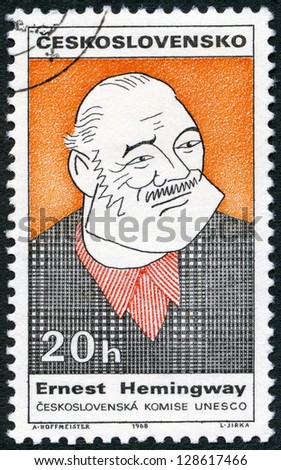 CZECHOSLOVAKIA - CIRCA 1968: A stamp printed in Czechoslovakia shows portrait of Ernest Hemingway (1899-1961), series Cultural personalities of the 20th centenary and UNESCO, circa 1968 - stock photo