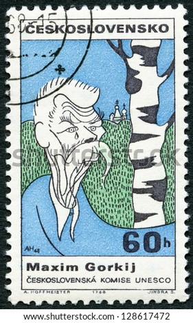 CZECHOSLOVAKIA - CIRCA 1968: A stamp printed in Czechoslovakia shows portrait of Maxim Gorky (1868-1936), series Cultural personalities of the 20th centenary and UNESCO, circa 1968 - stock photo