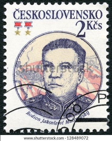 CZECHOSLOVAKIA - CIRCA 1983: A stamp printed in Czechoslovakia shows portrait of the Soviet Marshal Rodion J. Malinovsky (1898-1967), 30th anniversary of Czechoslovak-Soviet defense treaty, circa 1983 - stock photo