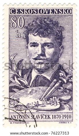 CZECHOSLOVAKIA - CIRCA 1959: A stamp printed in Czechoslovakia, shows portrait painter Antonin Slavicek, circa 1959