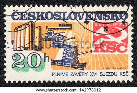 CZECHOSLOVAKIA - CIRCA 1982 : A stamp printed in CZECHOSLOVAKIA  shows Progress of Soviet Czechoslovakia, XVI Congress of the Communist Party of Czechoslovakia,  circa 1982 - stock photo