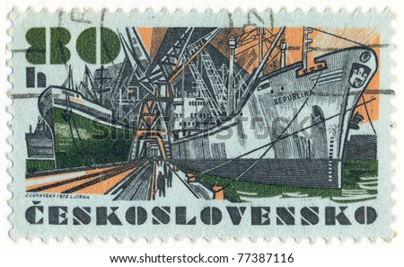 "CZECHOSLOVAKIA - CIRCA 1972: A stamp printed in Czechoslovakia, shows research vessel ""Republika"", circa 1972 - stock photo"