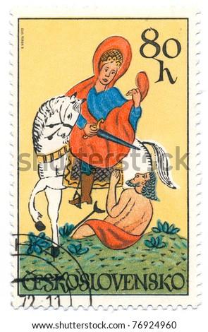 CZECHOSLOVAKIA - CIRCA 1972: A stamp printed in Czechoslovakia, shows St. Martin, circa 1972 - stock photo