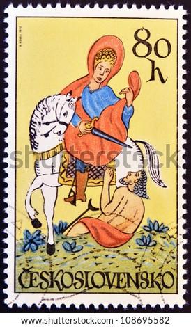 CZECHOSLOVAKIA - CIRCA 1972: A stamp printed in Czechoslovakia shows St. Martin on horseback, circa 1972 - stock photo