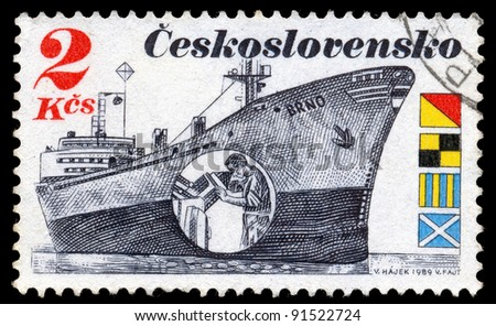 "CZECHOSLOVAKIA - CIRCA 1989: A stamp printed in Czechoslovakia, shows tanker ""Brno"", circa 1989 - stock photo"