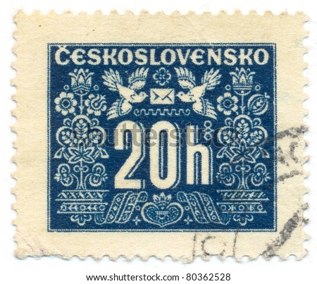 CZECHOSLOVAKIA - CIRCA 1946-48: A stamp printed in Czechoslovakia shows the stamp to pay postage costs, circa 1946-48 - stock photo