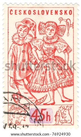CZECHOSLOVAKIA - CIRCA 1958: A stamp printed in Czechoslovakia, shows Toys, circa 1958 - stock photo