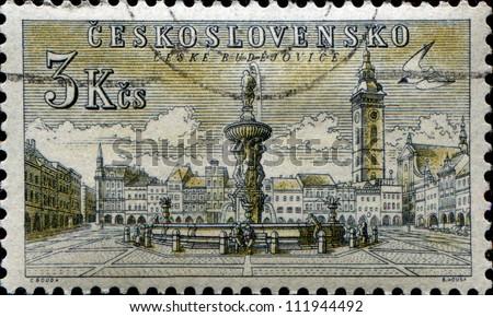 CZECHOSLOVAKIA - CIRCA 1954: A stamp printed in Czechoslovakia shows view of Ceske Budejovice's town square, circa 1954 - stock photo