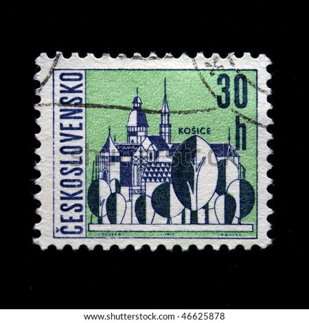 CZECHOSLOVAKIA - CIRCA 1965: A Stamp printed in Czechoslovakia shows wiew of Kosice, circa 1965