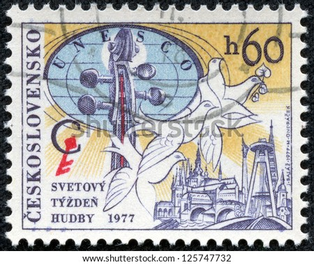 CZECHOSLOVAKIA - CIRCA 1977: A stamp printed in CZECHOSLOVAKIA shows World Music Week, circa 1977 - stock photo