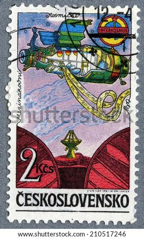 Czechoslovakia - CIRCA 1978: A stamp printed in Czechoslovakia - Soviet Intercosmos program, orbital station, circa 1984  - stock photo