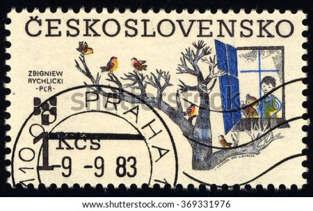CZECHOSLOVAKIA - CIRCA 1983: A stamp printed in Czechoslovakia to commemorate 9th Biennial of Illustrations for Children and Youth, Zbigniew Rychlicki, Poland, circa 1983 - stock photo