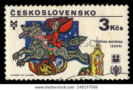 CZECHOSLOVAKIA- CIRCA 1979: A stamp printed in the Czechoslovakia, represented,  illustrations of Russian fairy tales by Tatiana Mavrina, circa 1979 - stock photo