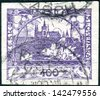CZECHOSLOVAKIA - CIRCA 1919: A stamp printed in the Czechoslovakia, shown Hradchany (St. Vitus Cathedral) and St. Nicholas Church, Prague, circa 1919 - stock photo