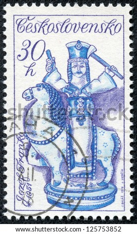 CZECHOSLOVAKIA - CIRCA 1978: A stamp printed in the Czechoslovakia, shown Janosik on Horseback by Jozef Franko, circa 1978 - stock photo
