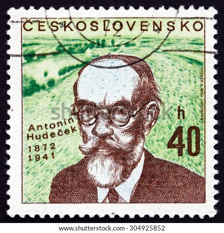 CZECHOSLOVAKIA - CIRCA 1972: a stamp printed in the Czechoslovakia shows Antonin Hudecek, Czech Painter, circa 1972 - stock photo