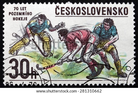 CZECHOSLOVAKIA - CIRCA 1978: a stamp printed in the Czechoslovakia shows Bandy Hockey, Winter Sport, circa 1978 - stock photo
