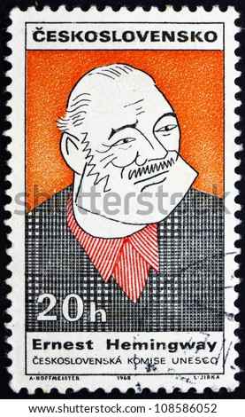 CZECHOSLOVAKIA - CIRCA 1968: a stamp printed in the Czechoslovakia shows Caricature of Ernest Hemingway, American Author and Journalist, circa 1968 - stock photo