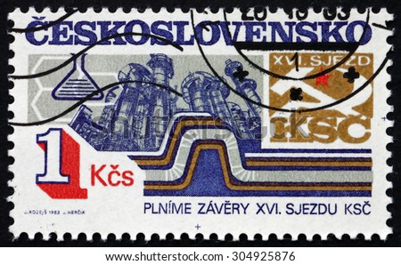 CZECHOSLOVAKIA - CIRCA 1983: a stamp printed in the Czechoslovakia shows Chemical Industry, 16th Party Congress Achievements, circa 1983 - stock photo