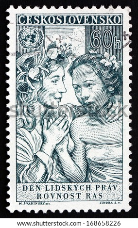 CZECHOSLOVAKIA - CIRCA 1959: a stamp printed in the Czechoslovakia shows Equality of All Races, 10th Anniversary of the Universal Declaration of Human Rights, circa 1959