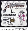 CZECHOSLOVAKIA - CIRCA 1969: a stamp printed in the Czechoslovakia shows Flintlock Pistol, Devieuxe Workshop, Liege, c. 1760, Historical Firearm, circa 1969 - stock photo