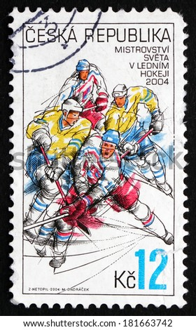 CZECHOSLOVAKIA - CIRCA 2004: a stamp printed in the Czechoslovakia shows Hockey Players in Action, World Ice Hockey Championships, Prague and Ostrava, circa 2004 - stock photo