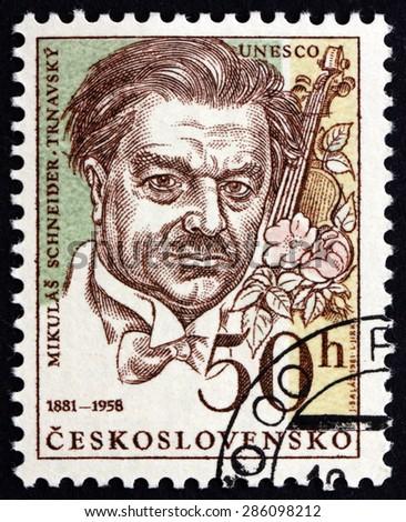 CZECHOSLOVAKIA - CIRCA 1981: a stamp printed in the Czechoslovakia shows Mikulas Schneider-Trnavsky, Slovak Composer, Conductor and Pedagogue, circa 1981 - stock photo
