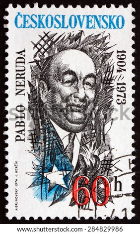 CZECHOSLOVAKIA - CIRCA 1974: a stamp printed in the Czechoslovakia shows Pablo Neruda, Chilean Poet, circa 1974 - stock photo