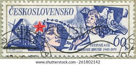 CZECHOSLOVAKIA - CIRCA 1979: a stamp printed in the Czechoslovakia shows Peace Movement, circa 1979 - stock photo