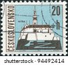 CZECHOSLOVAKIA - CIRCA 1965: A stamp printed in the Czechoslovakia, shows the city of Nitra, circa 1965 - stock photo