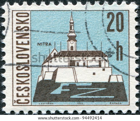 CZECHOSLOVAKIA - CIRCA 1965: A stamp printed in the Czechoslovakia, shows the city of Nitra, circa 1965