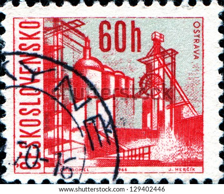CZECHOSLOVAKIA - CIRCA 1966: A stamp printed in the Czechoslovakia, shows the city of Ostrava, circa 1966 - stock photo