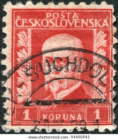 CZECHOSLOVAKIA - CIRCA 1927: A stamp printed in the Czechoslovakia, shows the first president of Czechoslovakia, Thomas Masaryk, circa 1927