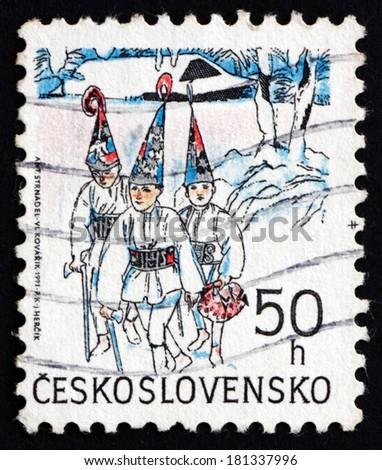 CZECHOSLOVAKIA - CIRCA 1991: a stamp printed in the Czechoslovakia shows Three Kings, Christmas, circa 1991 - stock photo