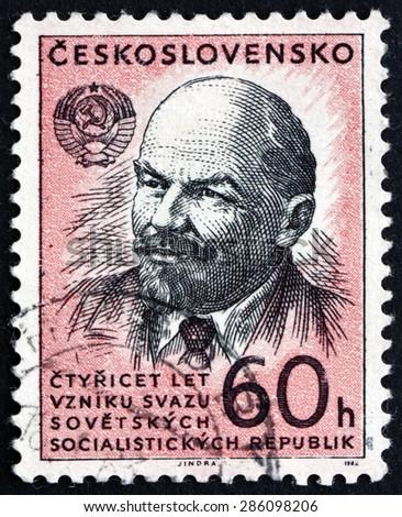 CZECHOSLOVAKIA - CIRCA 1962: a stamp printed in the Czechoslovakia shows Vladimir Illyich Lenin, Communist, Politician, circa 1962 - stock photo