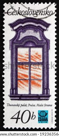 CZECHOSLOVAKIA - CIRCA 1977: a stamp printed in the Czechoslovakia shows Window, Thun Palace, Prague Renaissance Window, circa 1977 - stock photo