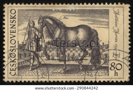 "CZECHOSLOVAKIA - CIRCA 1969: A used postage stamp printed in Czechoslovakia from the ""Horses"" issue, showing an engraving by M. Merian 1593-1650. - stock photo"