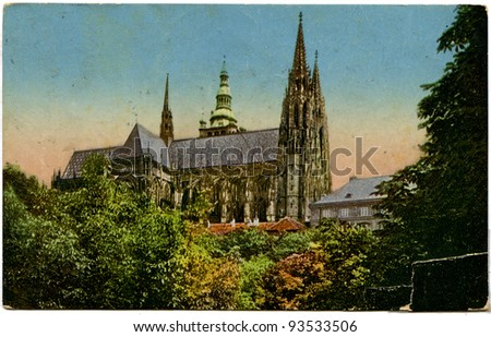 CZECHOSLOVAKIA - CIRCA 1924: Antique postcard printed in Czechoslovakia shows St Vitus Cathedral in Prague, publisher KVKV, circa 1924