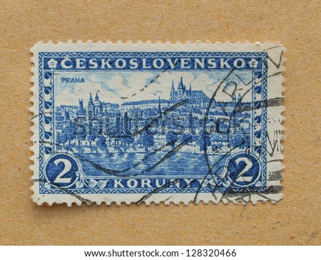 CZECHOSLOVAKIA, CIRCA 1926 - Czechoslovakian stamp depicting the historical city centre and monuments of Prague, in Czechoslovakia, circa 1926 - stock photo
