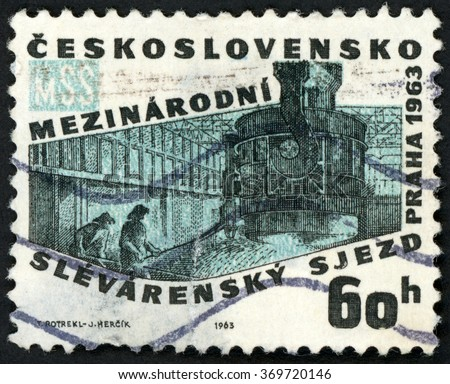 CZECHOSLOVAKIA - CIRCA 1963: post stamp printed in Ceskoslovensko (Czech) shows blast furnace; 30th international congress of iron founders Prague; Scott 1193 A459 60h, circa 1963 - stock photo