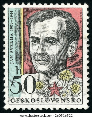 CZECHOSLOVAKIA - CIRCA 1981: post stamp printed in Ceskoslovensko (Czech) shows Jan Sverma (1901-1944); political activist, editor, collaborator; famous men; Scott 2350 A827 50h; circa 1981 - stock photo