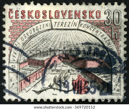 CZECHOSLOVAKIA - CIRCA 1965: post stamp printed in Ceskoslovensko (Czech) shows small fortress and rose; 20th anniversary of liberation of Terezin concentration camp; Scott 1288 A491 30h, circa 1965 - stock photo