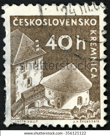 CZECHOSLOVAKIA - CIRCA 1960: post stamp printed in Czech (Ceskoslovensko) shows Kremnica castle Slovakia; Scott 974 A382 40h brown; circa 1960 - stock photo